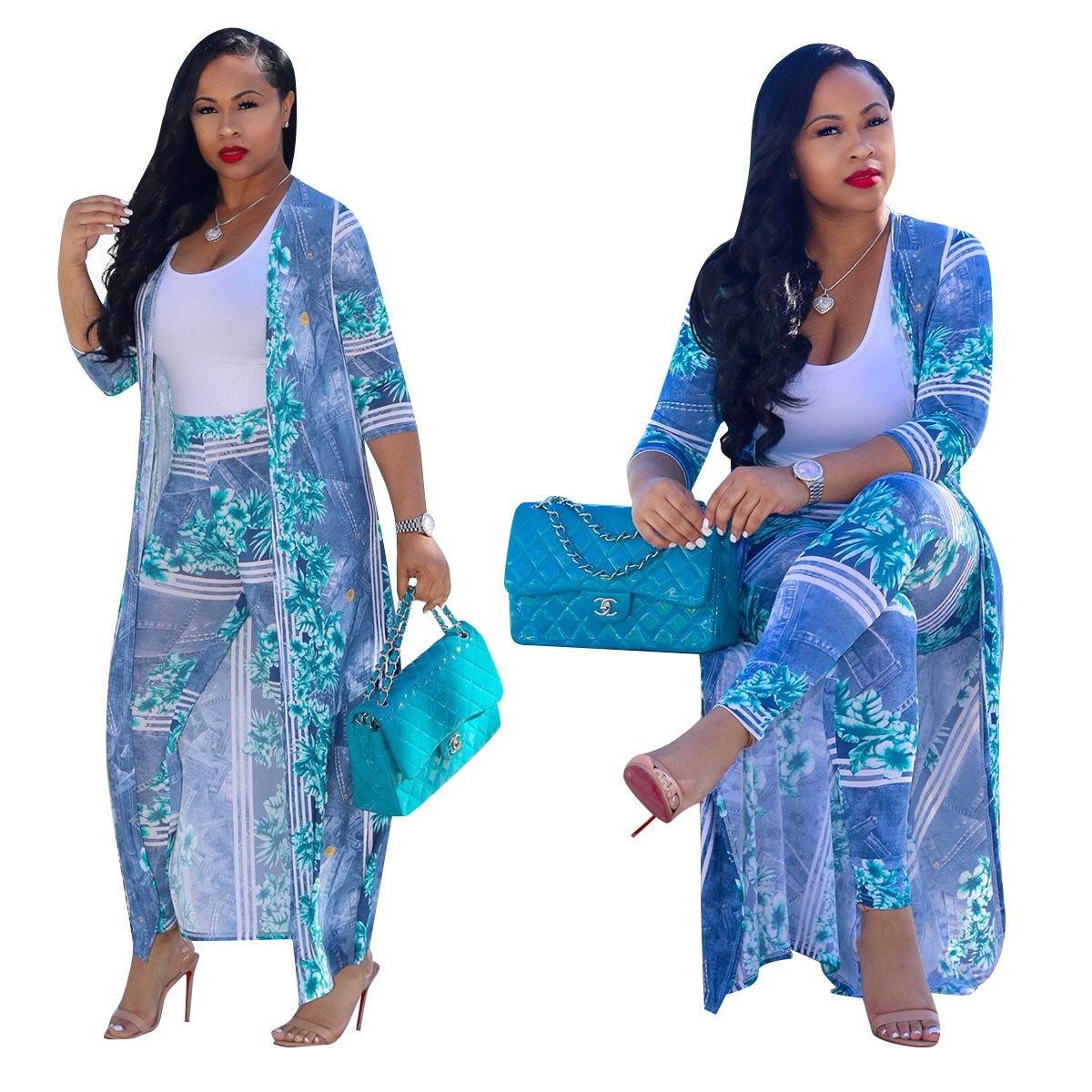 Neue 2 Stück Anzüge Frauen Gedruckt Lange Design Mantel Und Dünne Hosen Sets Streetwear Outwear Lange Hosen Bodycon Anzüge Plus Größe 3XL
