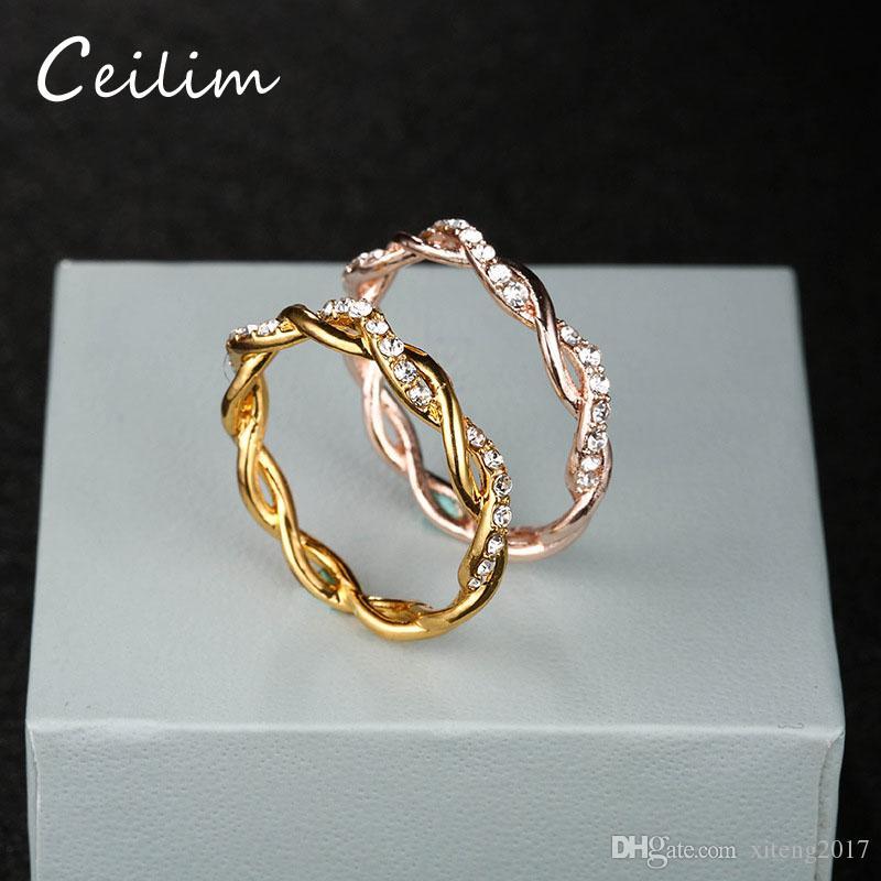 Okrągłe Pierścienie Dla Kobiet Cienki Róża Złoto / Srebrny / Złoty Kolor Kwiat Liny Postawanie Obrączki w Stopu cynku Bijoux Hurtownie Biżuteria Prezent