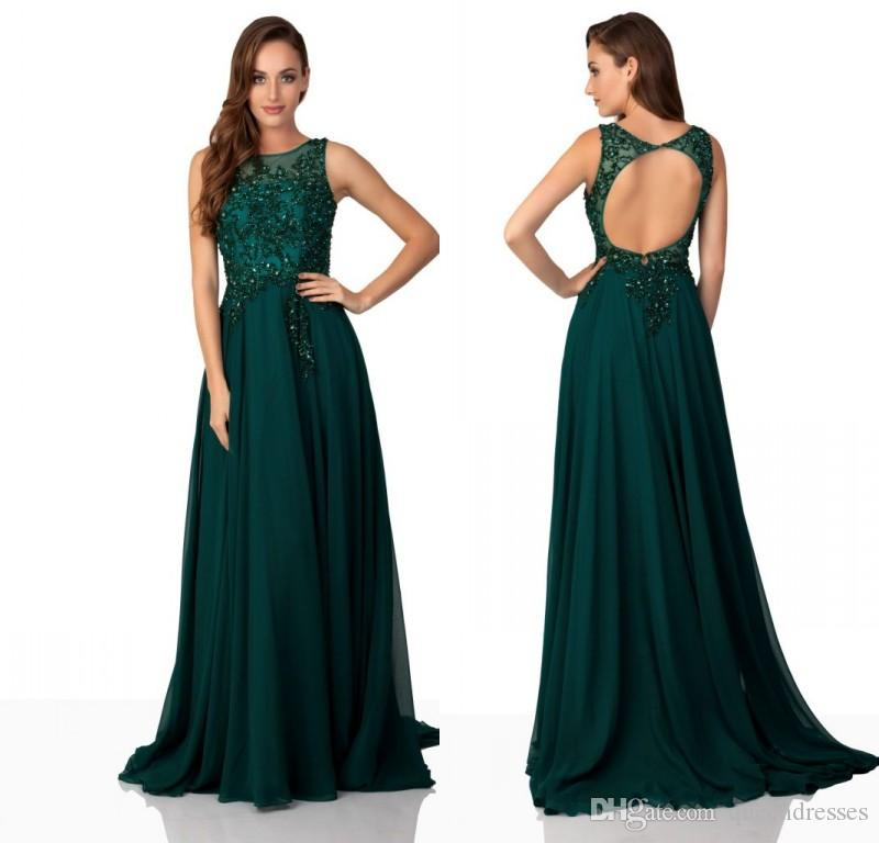 Compre últimas Verde Oscuro De La Gasa Larga Vestidos De Baile De La Joya De La Manga Casquillo Piso De La Envoltura Del Cordón De La Vestidos Para