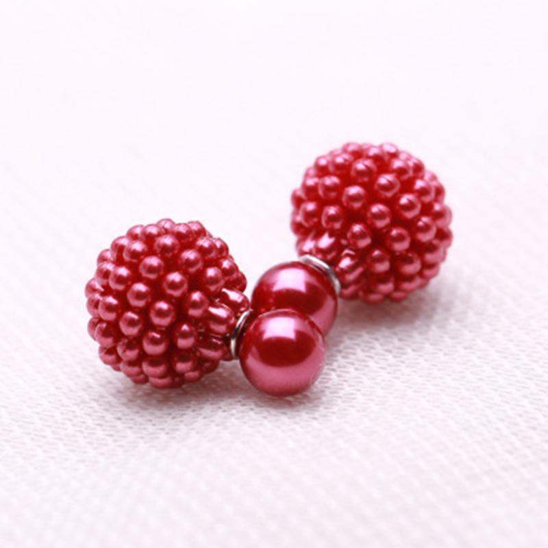 Gioielli di moda Double Side Imitazione perla orecchino carino Trendy lovely Charm Orecchini a perno di perle per le donne 11 colori