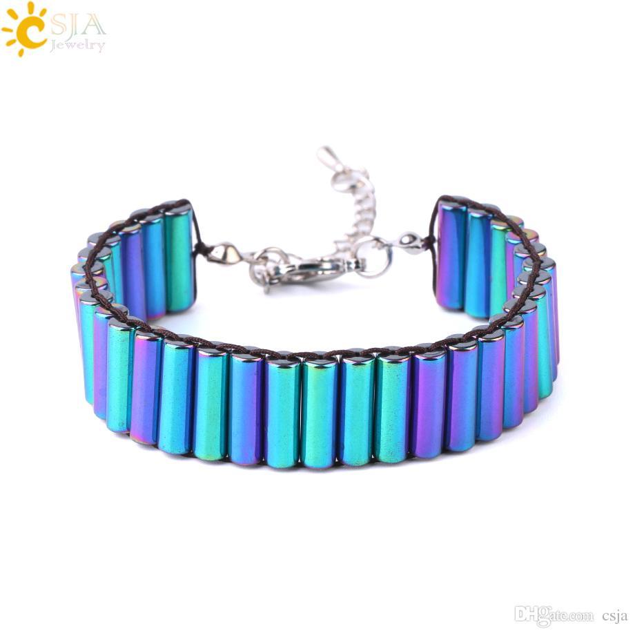 Csja Columnar Natural Stone Hematite Wrap Bracelet Metal Color Tube Wide Bangle Adjusted Men Women Health Shadower F742