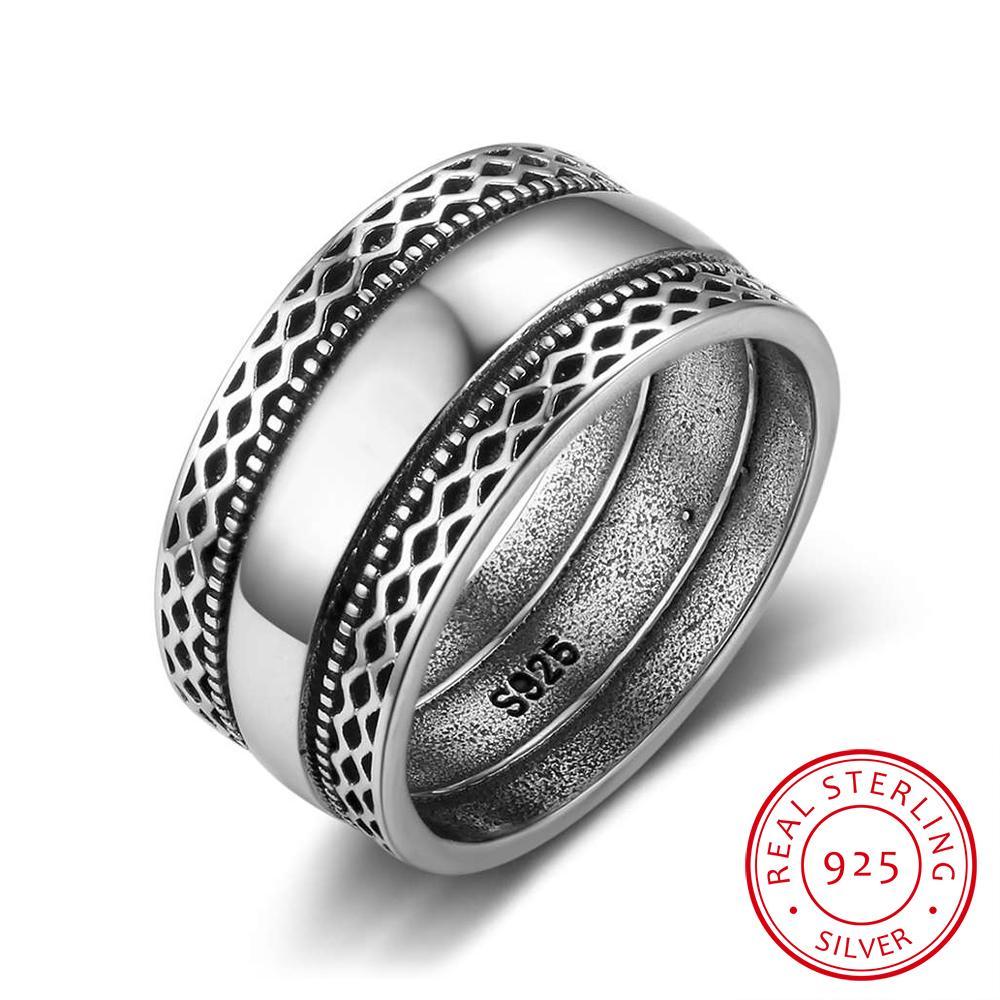 الصلبة 925 فضة خواتم مزدوجة الأربطة الرجعية موجة خمر خمر للنساء الزفاف والمجوهرات الفضية (Ri102785) D18111405