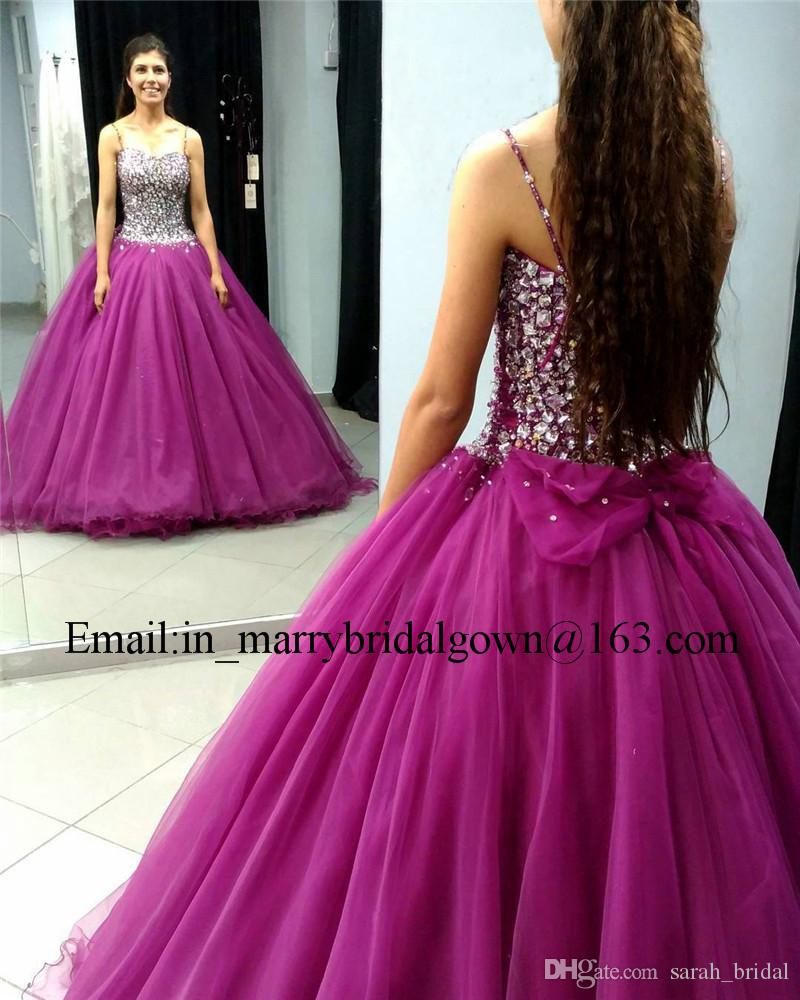 Luxury Purple Crystals Sweet 16 Quinceanera Dresses 2020 Ball Gown Major Beading Plus Size Vestidos 15 Anos Masquerade Prom Party Gown Uk 2019 From