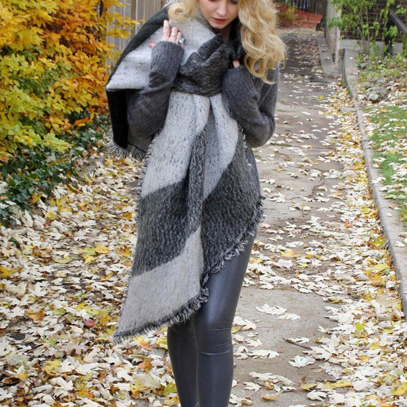 1 pcs moda Mulheres Grosso De Lã Quente Pashmina Cashmere Roubou Cachecóis De Inverno Cachecol Xale Wraps D18102406