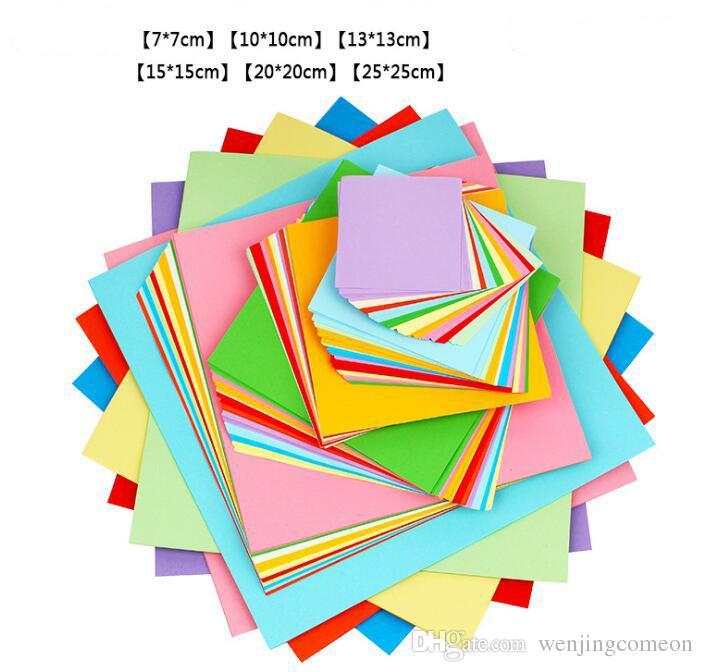 Più dimensioni miscelate colorate 70g origami carta doppia latifere carte pieghevole quadrato kraft carta bambini fai da te artigianato di carta fatti a mano