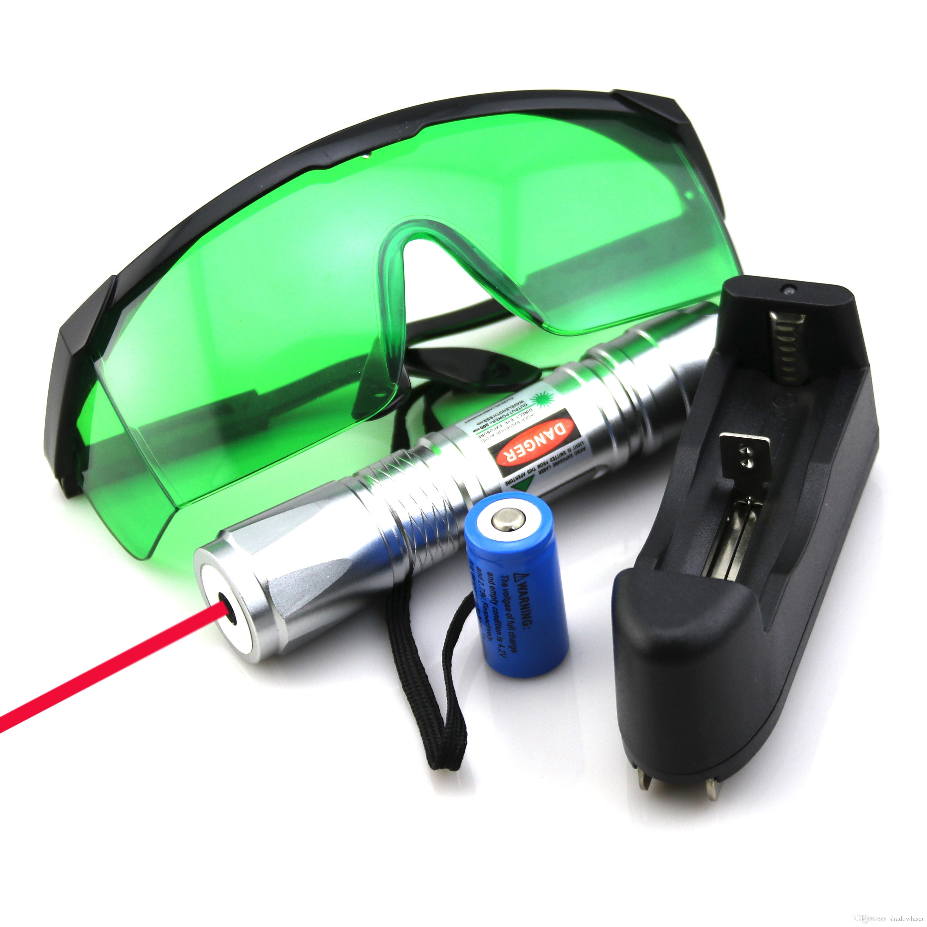SDLasers RS6-0200 Silver Adjustable Focus 650nm Red Laser Pointer With 1*18650 Li Battery & Charger & Goggles Funny Pet stick