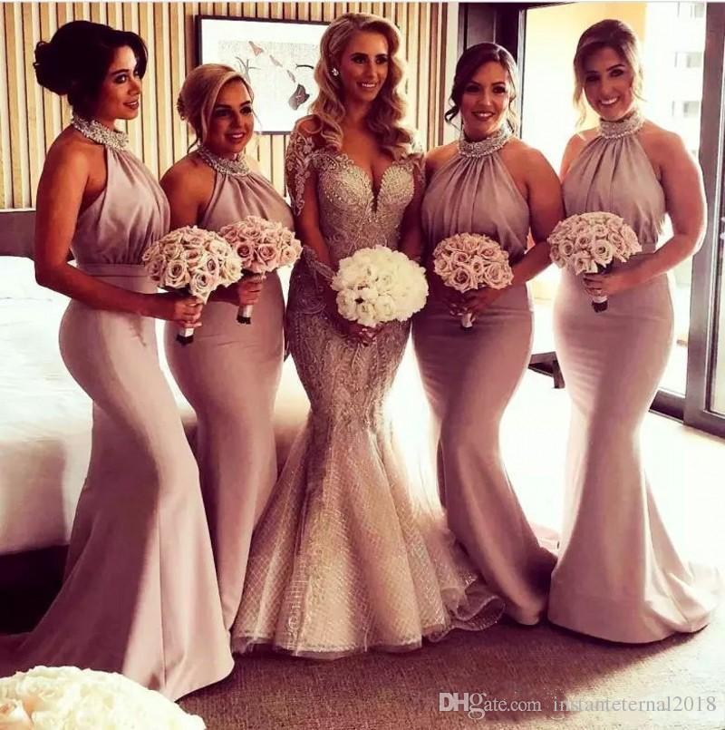 2021 Maid of Honor Dresses Abiti da sera Branelli perline Paillettes Satin Country Mermaid Damigella d'onore Abito lungo Pleas Back Back Sexy Party Gowns
