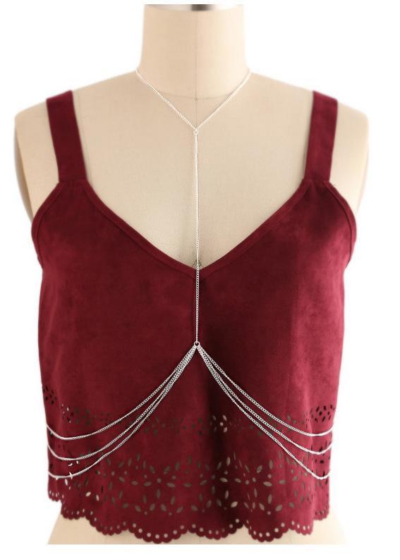 새로운 실버 도금 긴 몸 체인 간단한 숙녀 패션 합금 목걸이 작은 보석 선물 도매
