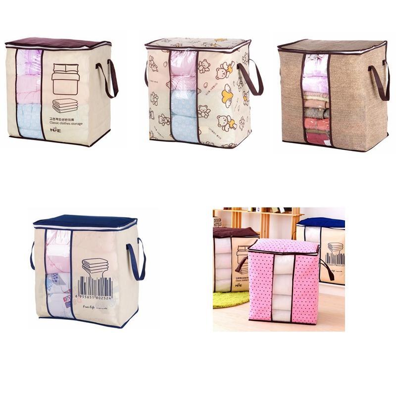 غير المنسوجة الملابس المحمولة حقيبة التخزين المنظم 45.5 * 51 * 29 سنتيمتر للطي المنظم لل وسادة لحاف بطانية الفراش حقائب GGA619 10 قطع