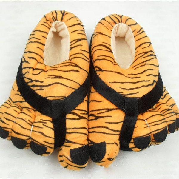 Beş parmak leopar baskı ayakkabı kaplan pençesi pamuk ayakkabı karikatür pamuk terlik Cottontoe pamuk