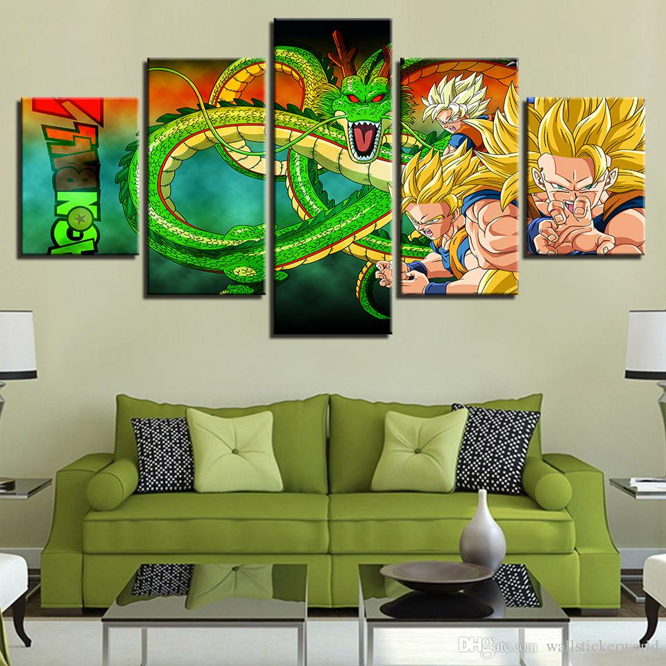 HD Prints Pictures Framework Living Room Canvas Anime Poster 5 Pieces Dragon Ball Z Super Saiyan Paintings Home Wall Art Decor