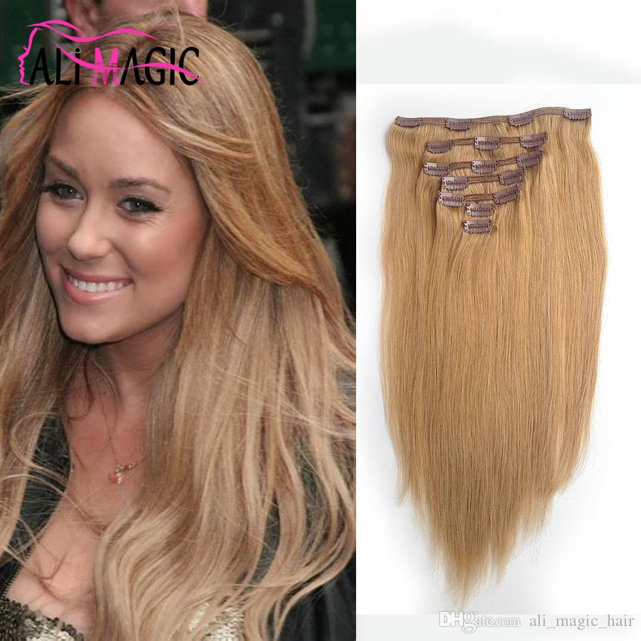 Clip Curly Hair Extensions Clip In Real Human Hair Extensions Straight Light Brown (#6) 7 Pieces 100 Grams/2.82oz 20 Colors Optional