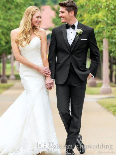 Custom Slim Fit Black Men Suits (Jacket+Vest+Pants)2018 for Wedding Groom Tuxedos Best Man Suits Prom Wear