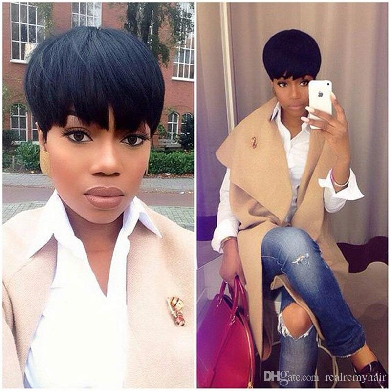 New Arrivel Cut Droite Perruques de Cheveux Humains Pixie Demi Coiffures Avant de Lacet Perruques Court Brésilien 100 Vierges Perruques de Cheveux Humains Pour Les Femmes Noires