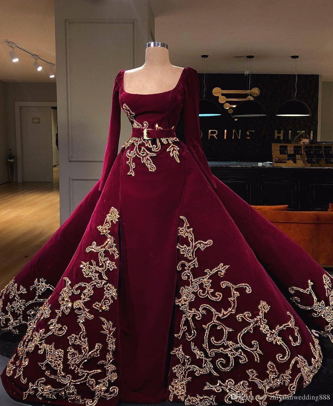Burgundy Velvet Gold Crystals Embellishment Winter Ball Gown Wedding ...