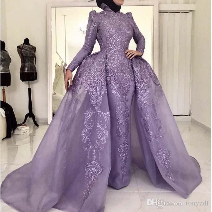 Robe de soirée classique Collier High Collier Appliqued Dentelle à manches longues Gaine Gaine Muslim Vestidos de Fiesta