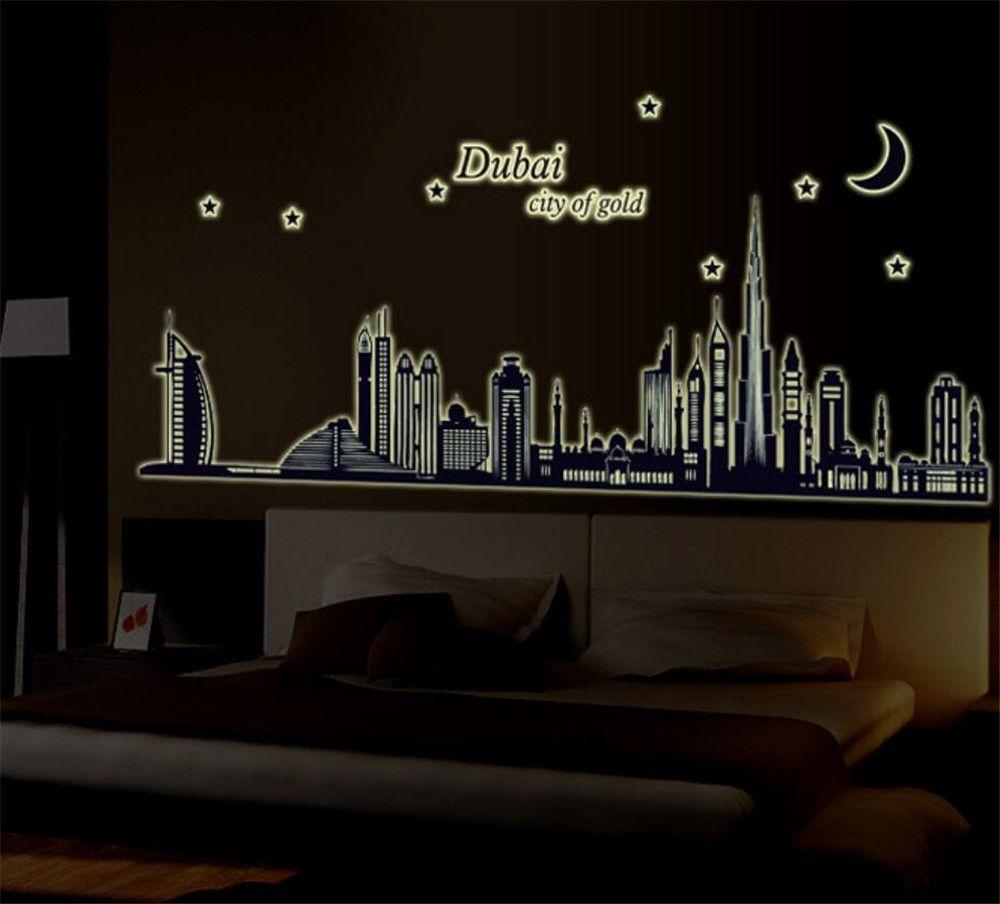 Dubai Şehir Floresan Duvar Çıkartmaları Noctilucent Glow Karanlık Aydınlık Gece Vinil Çıkarılabilir Duvar Ev Dekor DIY Çıkartması