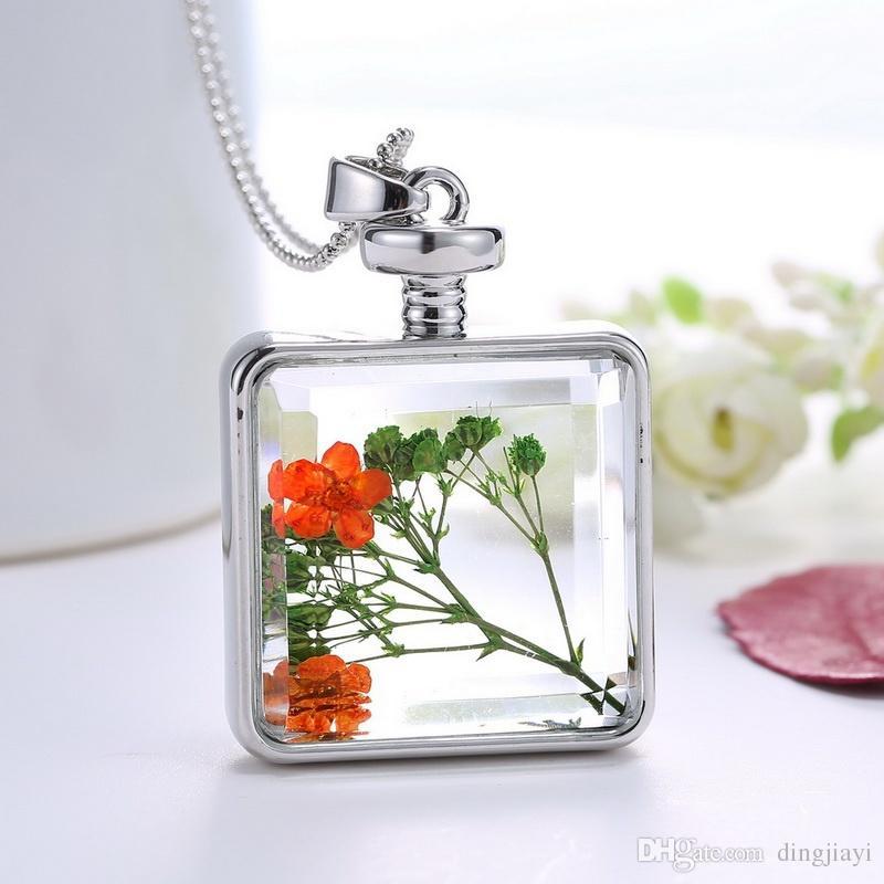 Joyería fina de la vendimia Collar de declaración de flor secaColgantes para mujer Cristal Collares Color de plata Jewerly
