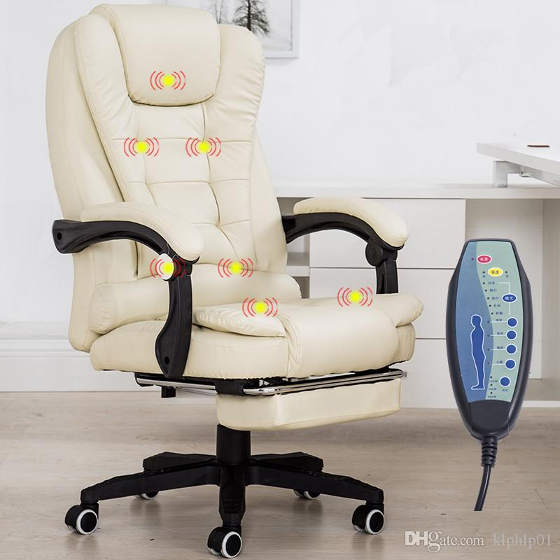 Home Office Leather Computer Desk Massage Chair With Footrest Reclining Executive Ergonomic Vibrating Office Chair Furniture