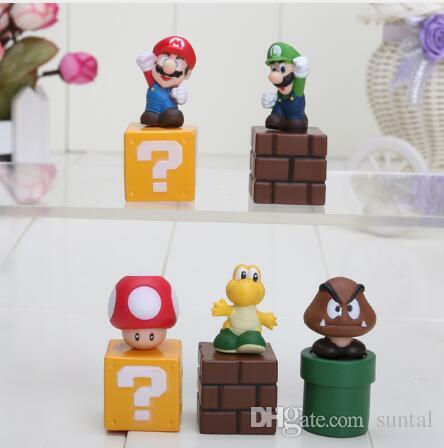 슈퍼 마리오 브라더스 5pcs / 세트 미니 피규어 번들 블록 Mario Goomba Luigi Koopa Troopa 버섯 PVC 완구 인형