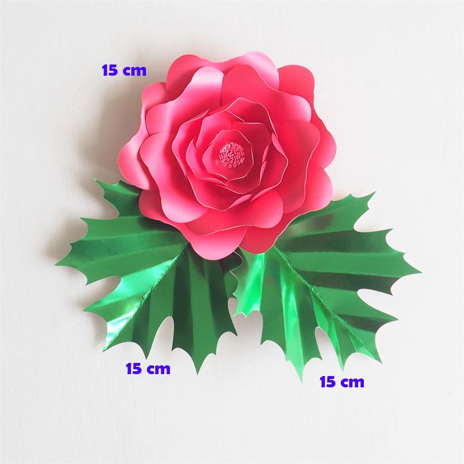 Yapay Çiçekler 15 CM + 15 CM Yapraklar Yapraklar Artificielles Backdrop DIY Dev Kağıt Çiçekler Düğün Parti Süslemeleri Ev Dekor Bebek Duş
