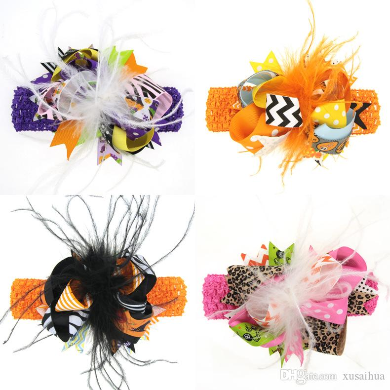 Compre 8 Estilos De Colores De Halloween Para Niños Bowknot Ribete ...