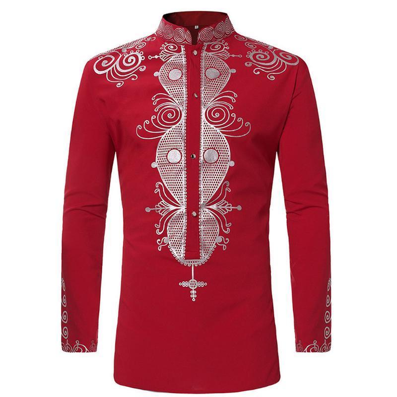 Imprimer Afrique noire Dashiki Shirt Homme 2018 Marque Nouveau col Chemises Hommes manches longues Tribal Gypsy Vêtements ethnique 3XL