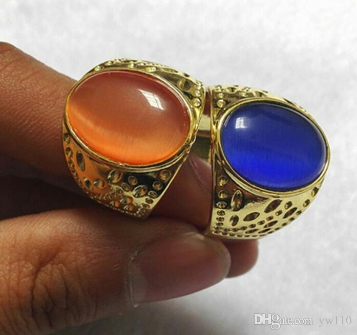 Oeil de chat en gros anneau de jade anneau plaqué or incrusté œuf visage anneau homme multicolore