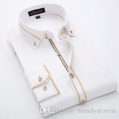 Homens de luxo Camisas de Manga Longa Mens Camisas de Vestido de Algodão Branco Camisa Preta Camisa Dos Homens Tuxedo Plus Size Slim Fit Chemise Homme