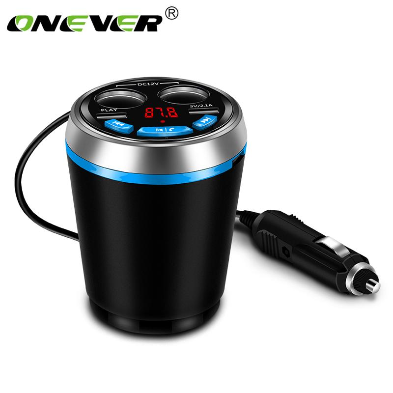 wholesale Car Bluetooth FM Transmitter Music MP3 Player Hands Free Car Kit Cup Holder Cigarette Lighter 2 USB Car Charger Adapter