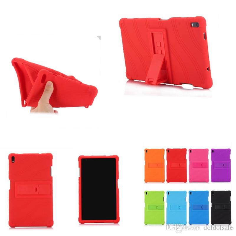 Soft Silicone Rubber TPU Back Cover for Lenovo Tab 4 8 Plus TB-8704F TB-8704N TB-8704X TB-8704 8 inch Tablet Case with Stand