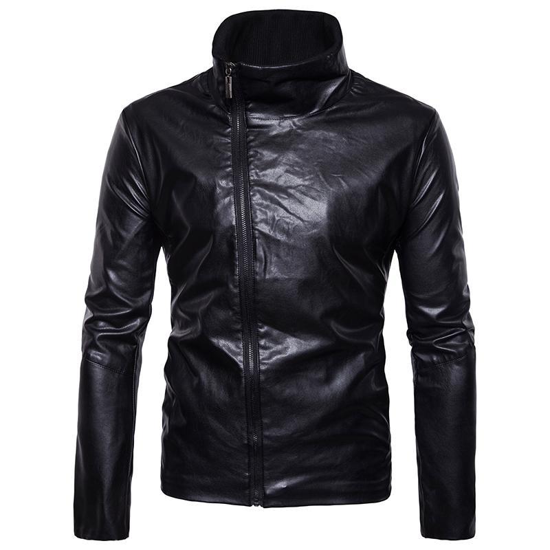 Jaquetas masculinas Chegado Casacos de Motocicleta Macho Casacos Slim com Zipper Homem Outerwear Stand Jaqueta de Couro Masculina