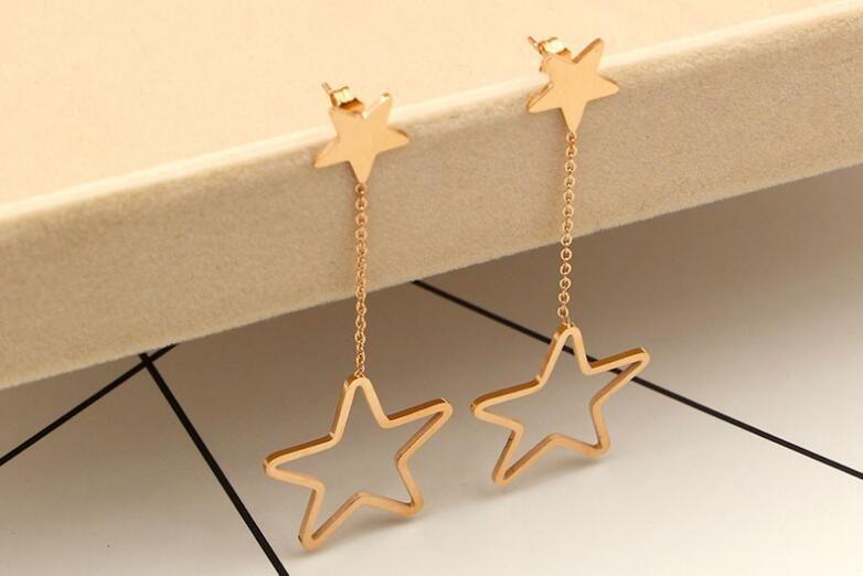 Art und Weise Europa und die Vereinigten Staaten hängenden hohlen Stern lange Ohrringe Frauen Wild Beach die Übertreibung weibliche Ohrring lange Titan Orname
