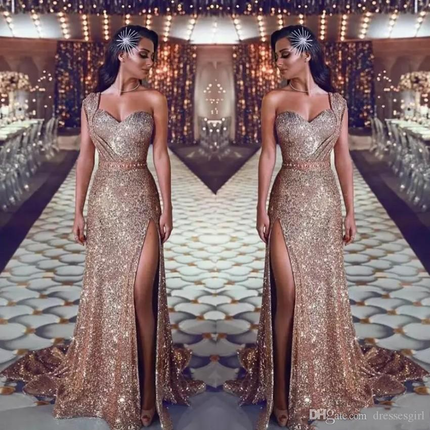 2019 Luxury Gold Sequins Mermaid Split Evening Dresses Formal Arabic One Shoulder Beaded Waistband Long Party Prom Gowns BC0131