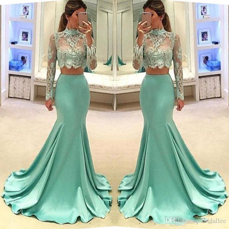 İki Adet Gelinlik Illusion Mermaid Abiye Sheer Yüksek Boyun Uzun Kollu Ünlü Pageant Örgün Giyim Romantik Kız Parti Elbise