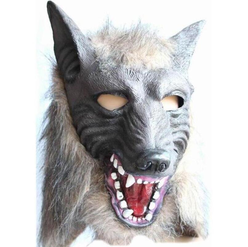 1Pcs Wolf Head and Gloves Scary Masks Novelty Halloween Mask With Hair Cosplay Costume PVC Festival Supplies