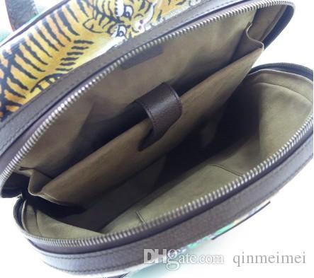 Мичан Напечатал новый холст рюкзак G Зеленая печать Тигр моды рюкзак кожаный полоса настоящие мужчины женские кошелек Ftjks