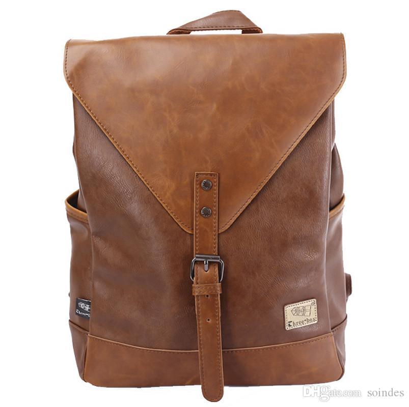 الرجال حقيبة الظهر للمراهقين الذكور الشباب بو الجلود حقيبة المدرسة حقيبة كمبيوتر محمول النساء الظهر عارضة حقيبة