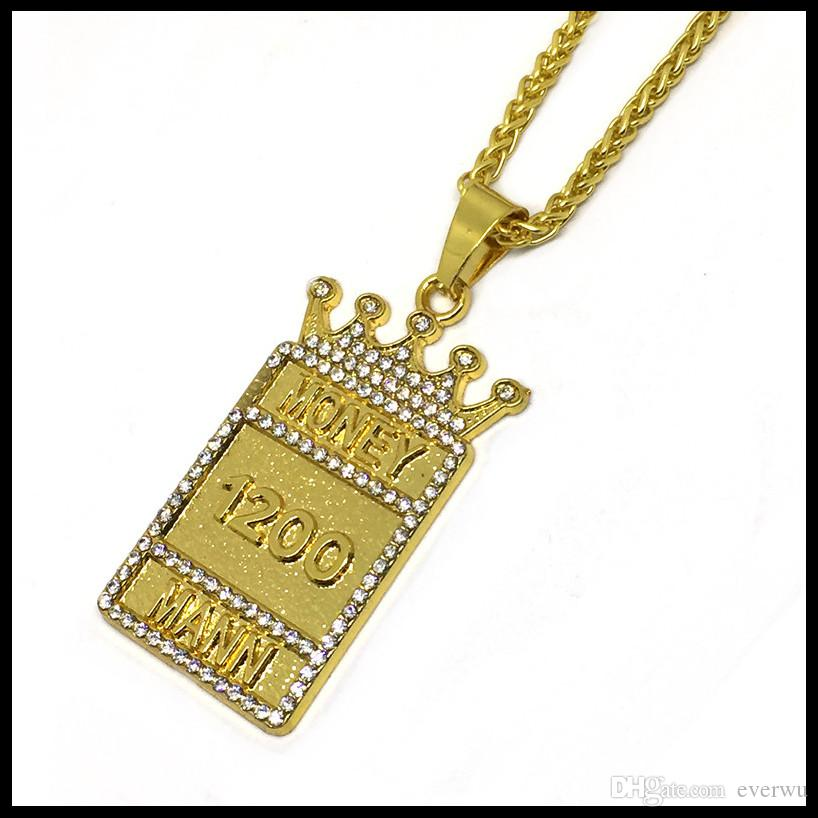 Fashion Gold Plated Gold Plated King Crown 1200 Money Dog Tag Man Mann Pendant Necklace Crystal Style