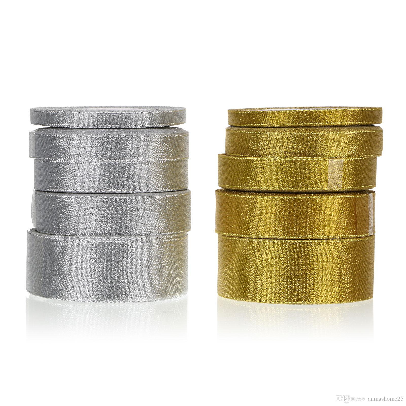 Vendita calda !!!! 10 pezzi / set 25 metri 4 dimensioni X'mas raso nastro del grosgrain decorazione di natale-colore argento oro scegliere