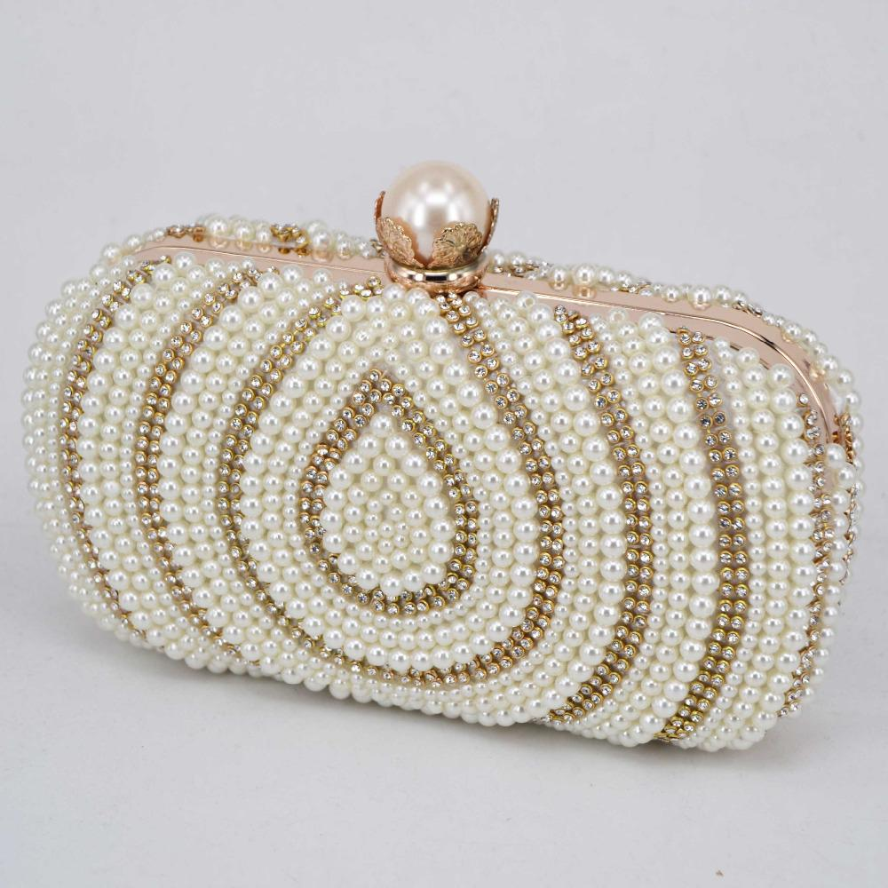 Bridal Beaded Evening Bag,Classic Fashion Clutch Bag Wedding Party Prom Evening Handbags Removable Chain For Woman