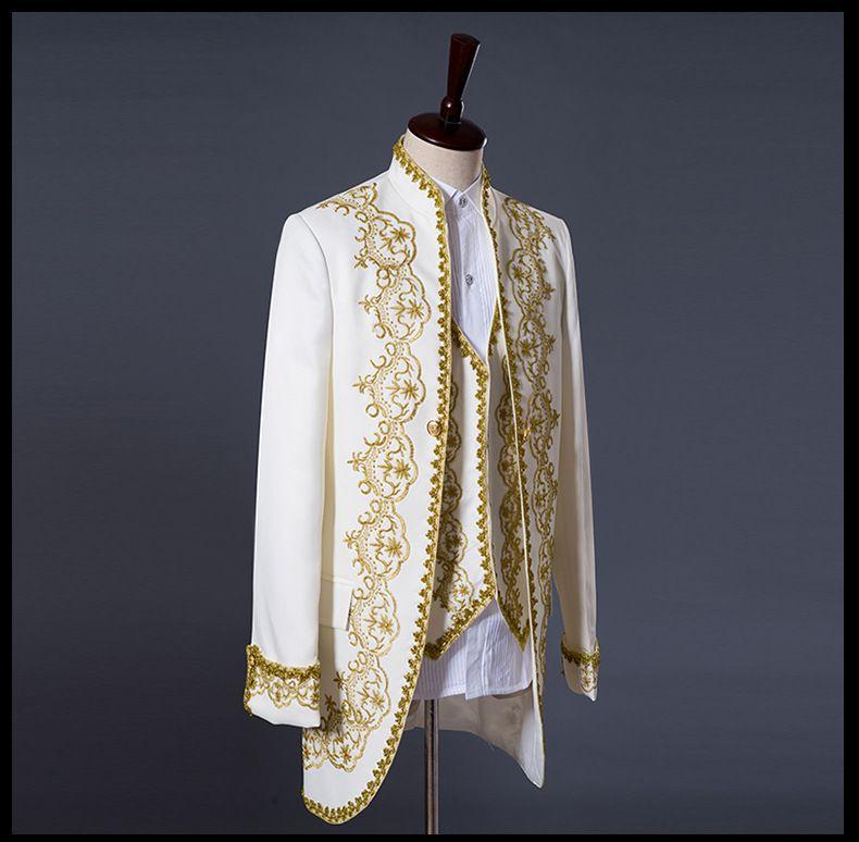 Prince or broderie blazer costume de mariage gaine veste manteau blazer veste tuxedos mariage costumes hommes manteau + gilet + pantalon