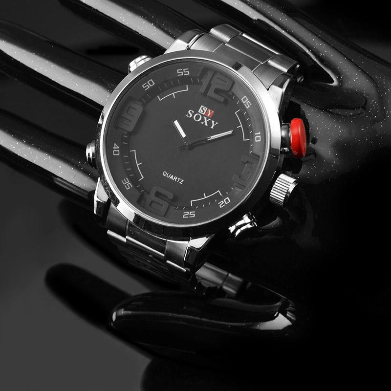 vendita all'ingrosso nuovo modo del Mens di sport degli uomini della vigilanza del quarzo dell'acciaio inossidabile maschio militare grande manopola Analog Clock relogio masculino