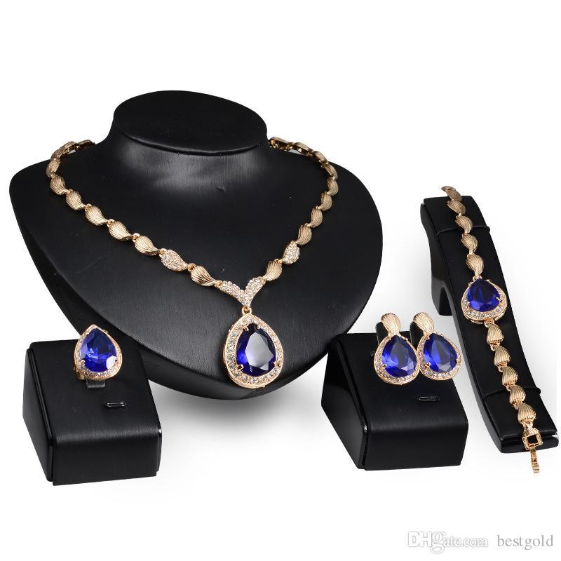 Dubaï pendentif en or bleu 18K collier en cristal bleu définit la mode diamant africain mariage ensembles de bijoux de mariée (collier + bracelet + boucles d'oreilles + bague)