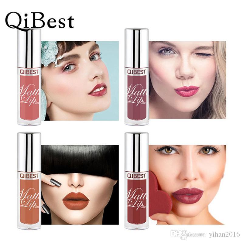 En stock! Qibest Lip Gloss Stick Charmant Mat Rouge À Lèvres Liquide Glisse sur de belles lèvres longue durée Hydratant 24 Couleurs Livraison Rapide
