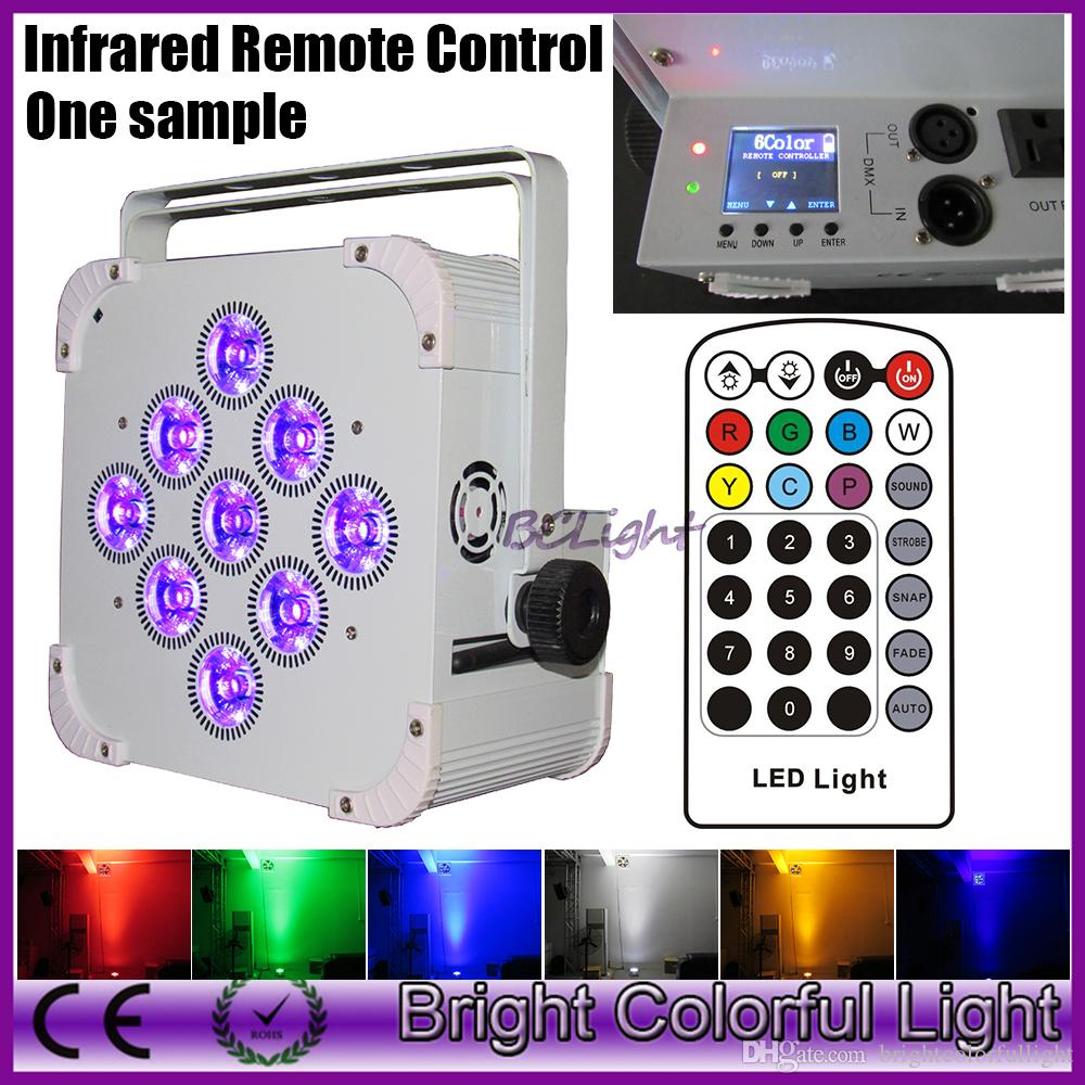 Hottest RGBWA+UV 6 IN 1 Battery operated & wireless dmx led par up lights with Infrared controller LCD display 9*18W