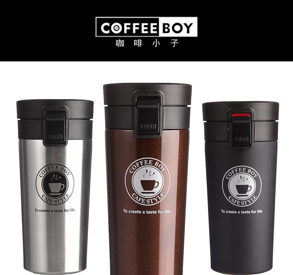 Caneca térmica Copo de café com tampa Vedação Thermocup Frascos de vácuo de aço inoxidável Caneca térmica para garrafas de água de carro