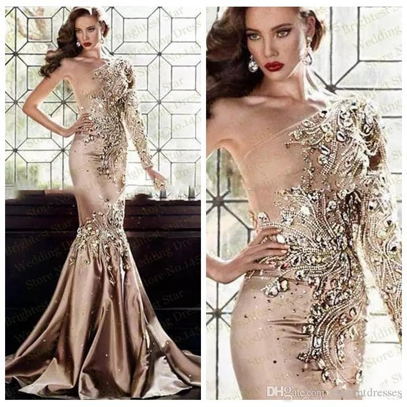 2018 Luxurious Crystal Beaded Slim Evening Dresses Abaya Dubai One Shoulder Rhinestone Gowns Muslim Long Sleeve Bling Bling Prom Gowns