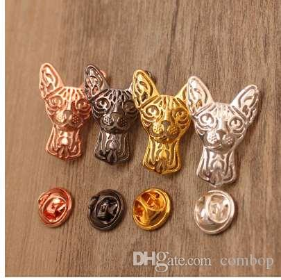 Mdogm 2018 Sphynx Cat Animal Brooches And Pins Coat Suit Metal Alloy Father Collar Badges Gift For Female Male Men Cartoon BT001