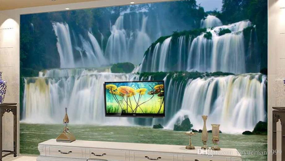 Custom 3D Mural Wallpaper cascada telón de fondo de TV papel de parede 3D Wallpaper para sala de estar Papeles de pared Decoración para el hogar